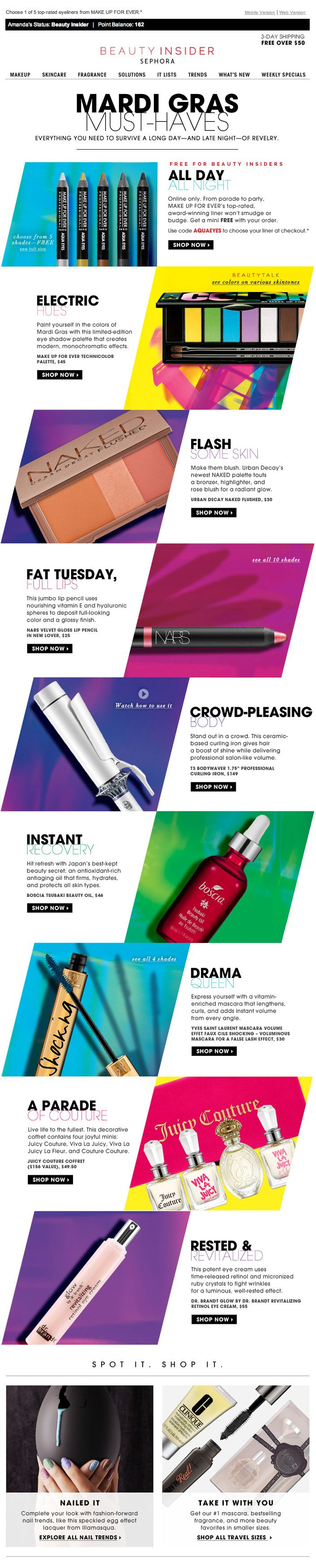 Sephora Beauty Insider Email Design - Excellent Emphasis on Products