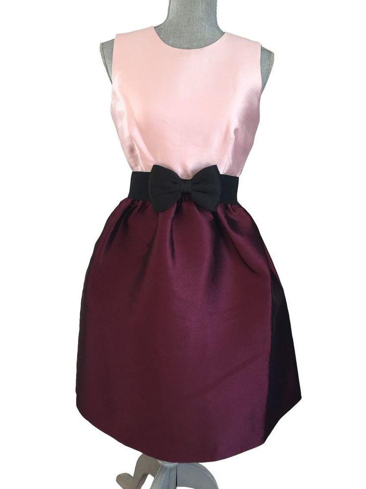 NWT KATE SPADE Swift Pink Burgundy Colorblock Sateen Fit Flare Dress Bow Belt 4  #katespade #FitFlareALine #Cocktail