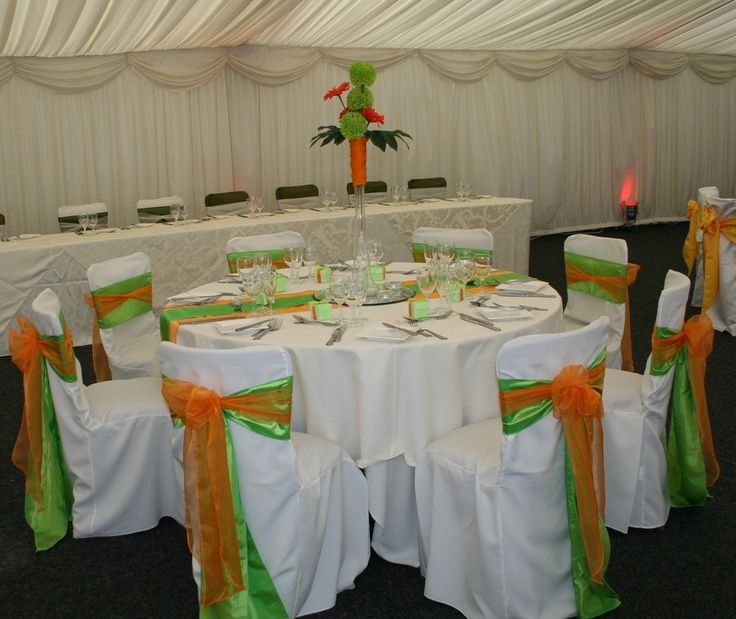 20 Ways To Decorate With Orange And Yellow: Lime Green & Orange Theme With Green/ Orange Table Centre