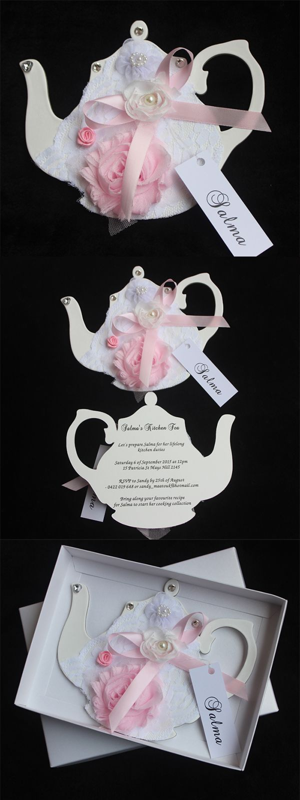Handmade Tea Party Invitations Cards Boxed Invitations