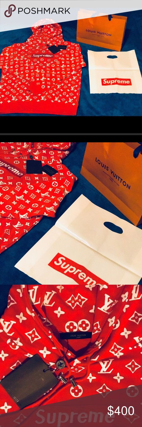 Louis Vuitton supreme rare hoodie OriginNew with tags !! LV shopping bag and supreme dust plastic bag included !! Reasonable offers are taken Louis Vuitton Shirts Sweatshirts & Hoodies