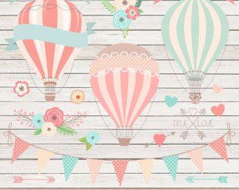 CLIPART - un totale di 18 grafica + 1 bianco legno carta digitale degli AEROSTATI di aria calda  Questo meraviglioso insieme di grafica carina 18 sono perfetti per creare inviti di matrimonio, salvare le carte di data, Bridal Shower Inviti, scrapbooking, schede 3d, adesivi murali, Wed Design, Graphic Design e molto altro ancora! Include Hot Air Balloons, Bunting Banner, bouquet di fiori, cuori, frecce, vero segno di amore, fiori e bandiere del nastro che possono essere sovrapposti i…