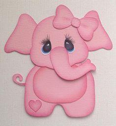 PREMADE BABY GIRL ELEPHANT PAPER PIECING BY MY TEAR BEARS KIRA