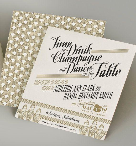Gatsby Art Deco Invitation By Milanoink On Etsy