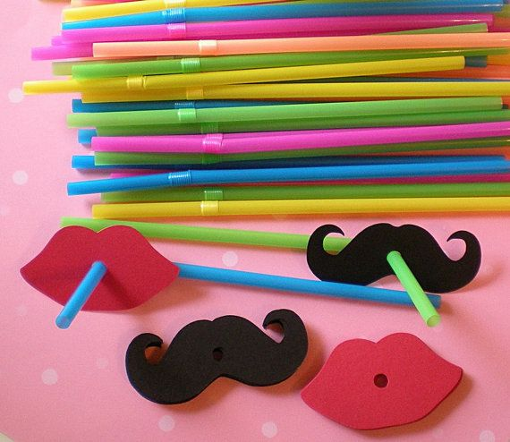 50 Mustache and Lips Straws for Party Favors by HoneyLanePaperie, $19.00 GENDER REVEAL