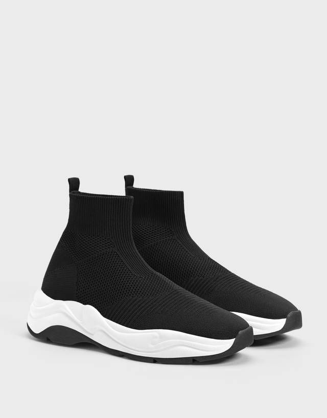 Men S Sock Style High Top Trainers Shoes Bershka Germany Fashion Socks Pull And Bear Men Shoes Mens