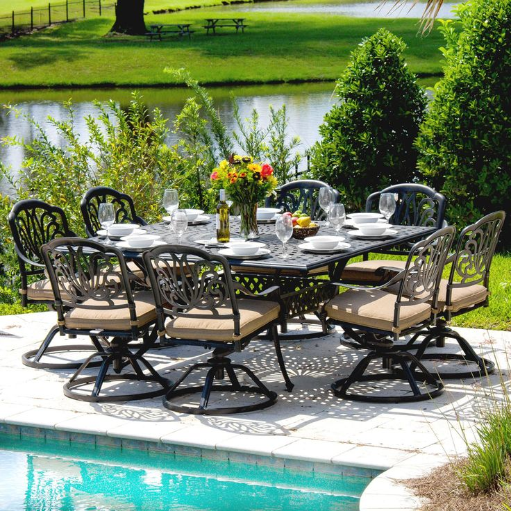 Rosedown 8-Person Cast Aluminum Patio Dining Set With Cast ...