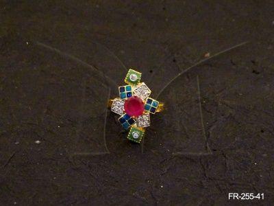 FR-255-41 || MULTI SQUARE FLOWER AD FINGER RINGS