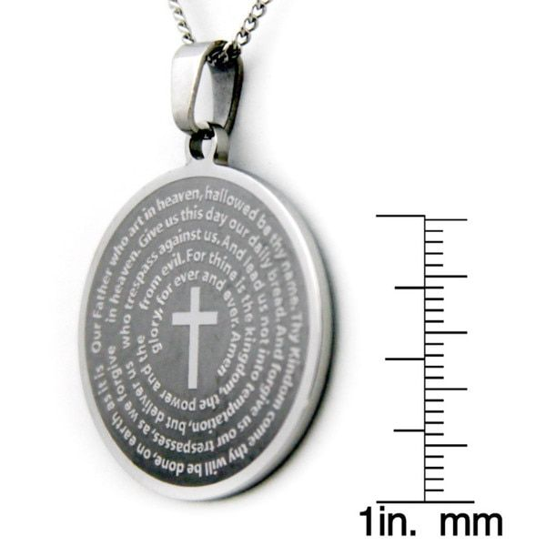 Our Father Prayer Cross Stainless Steel Necklace