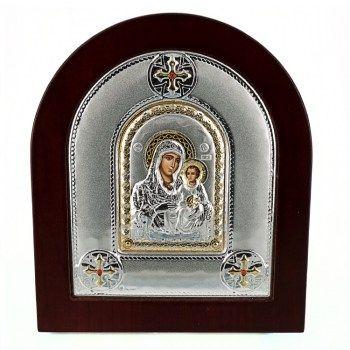 Εικόνες : Ασημένια Εικόνα με την Παναγία με Επίχρυσες Λεπτομέρειες σε Καφέ Ξύλο MA/E2102DX