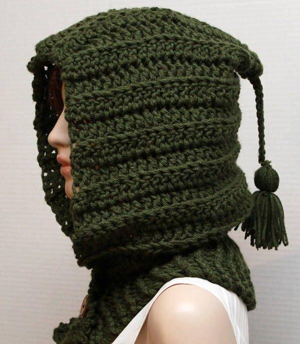 Crochet Patterns Unisex Hooded Cowl Chunky Crochet Cowl Hood