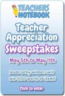 Teachers Notebook is having a Teacher Appreciation Sale from May 5-11. All of my items are on sale. :-)