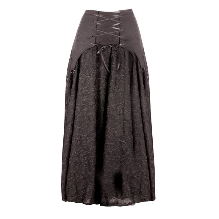 """An A-line skirt with cotton garter style top and brocade lace over satin skirt. The extra details is metal D-rings and satin ribbon lacing in the style of a corset. A Victorian masterpiece that should definitely be part of your outfit combos this season!  ELASTICATED AT THE BACK FULL LENGTH FREE SIZE WAIST  30"""" - MAX 38"""" / 76.2CM - 96.5CM  Hand wash separately. Cold wash."""