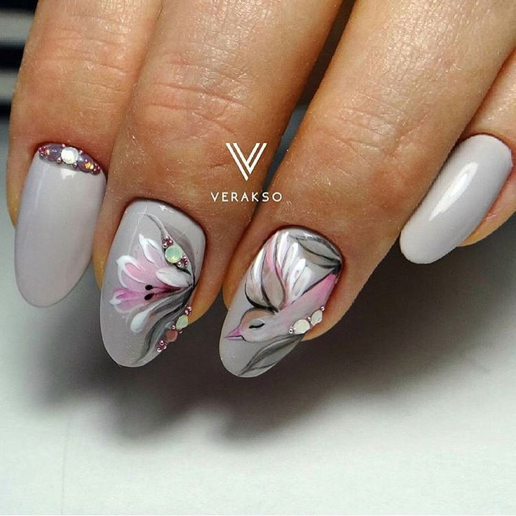 April nails, Delicate spring nails, Drawings on nails, Festive spring nails, Grey nails, Grey nails with a pattern, Oval nails, Spring nail art