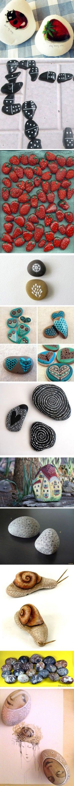 DIY Painted Stones Ideas  if you and Mom go for a walk, or you go camping...look for smooth stones and dry sticks!