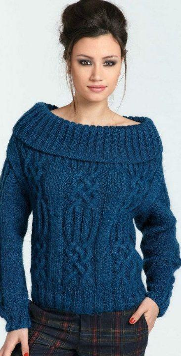 пуловер с открытыми плечами спицами кардиган вязание вязаный