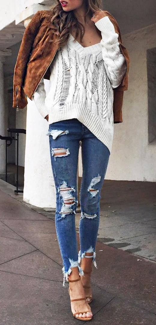 trendy street style outfit jacket + top + ripped jeans