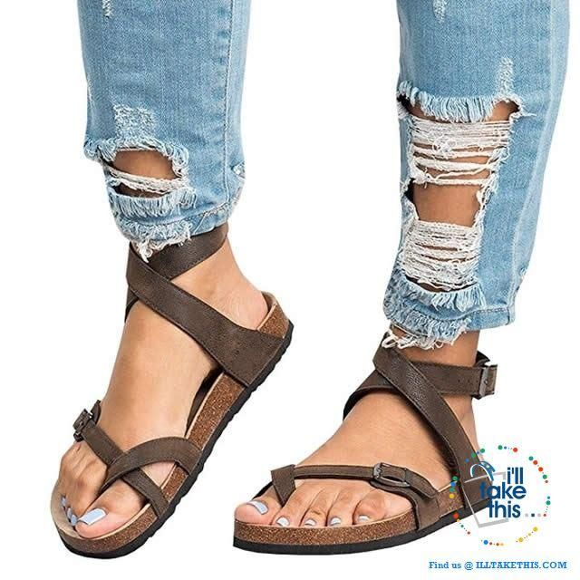 Women S Roman Flat Bottomed Pedal Sandals With Belt Buckle Shoes Comfort 3 Color Size Womens Sandals Buckle Sandals Womens Sandals Flat
