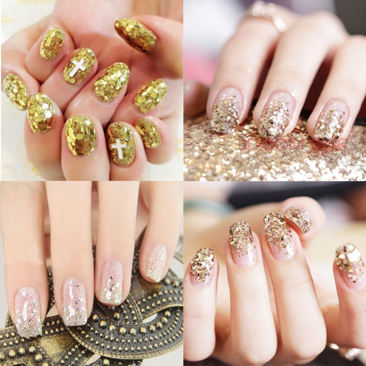 #Gold #NailArt #Glitter Dust Powder #Silver Sequins Sheets Tips #Manicure 3D