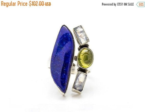 CHRISTMAS SALE 25% OFF Prolonged Lapis ring  drop shape by batyas