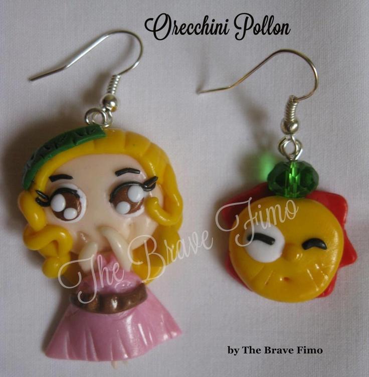orecchini pendenti con pollon in fimo sono Totalmente realizzati a mano Senza stampi e lucidati con apposita vernice Costo: 5 euro