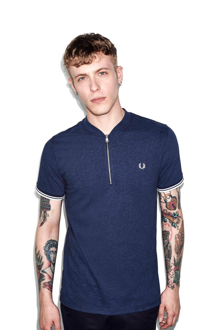 Fred Perry - Marl Zip Neck T-Shirt Inky Blue Marl