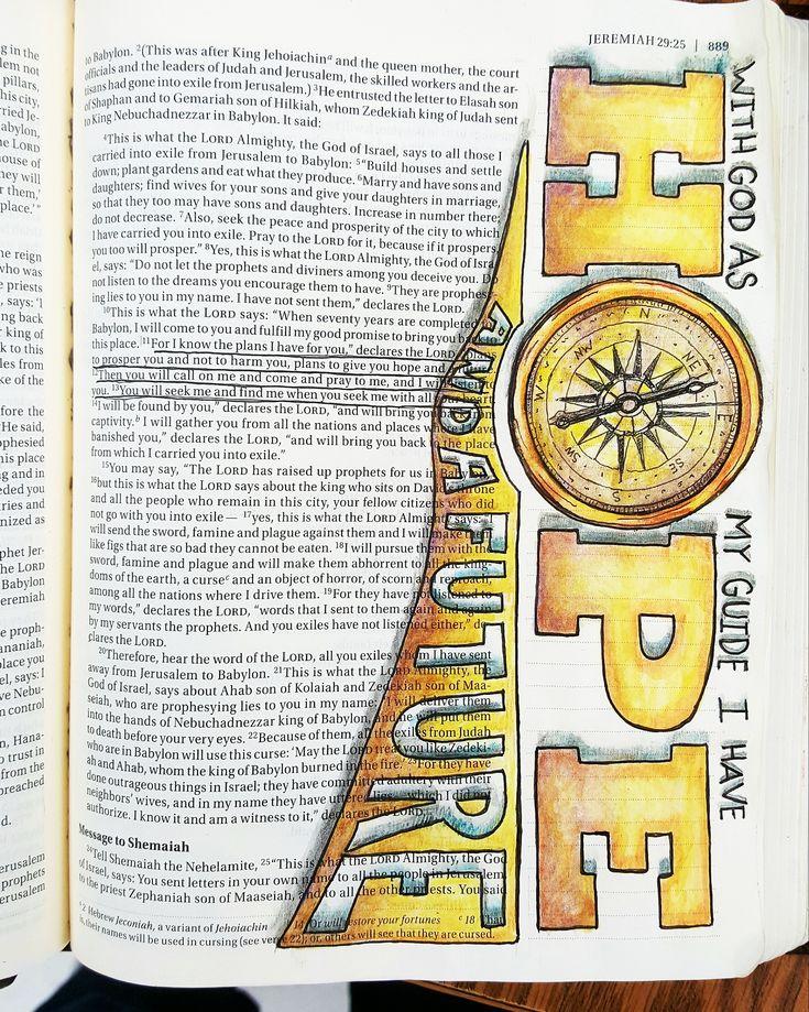 Jeremiah 29:11  The Original Bible Art Journaling Challenges Series 14 http://www.rebekahrjones.com/bible-art-journaling-challenge/the-original-bible-art-journaling-challenge/