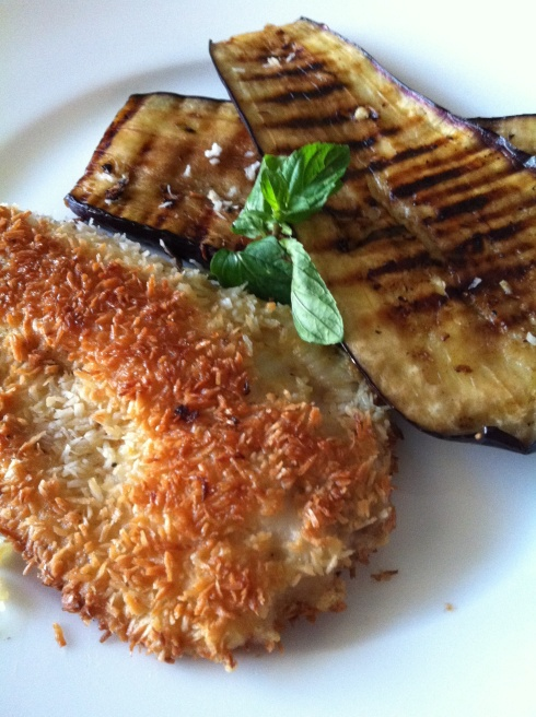 coconut curry crusted tilapia with balsamic grilled eggplant!