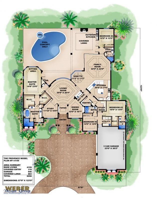provence floor plan by weber design group - Mediterranean House Plans