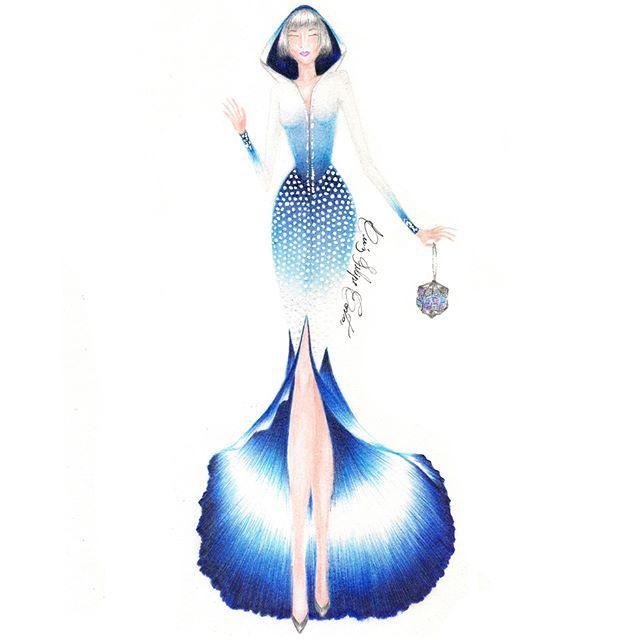 """Repost: @lfilipecosta_""""Behind The Ice Tree Nunca tenho algo fixo em minha mente quando estou criando, por exemplo no começo este era apenas o desenho de uma flor (veja-o de cabeça para baixo) depoiso vi sobre uma perspectiva diferentee o transformei em um vestido, simples assim...""""#croqui#sketch#fashionsketch#fashion#moda#houtecouture#ice#draw#drawing#flower#desenho#fashiondress#dress"""