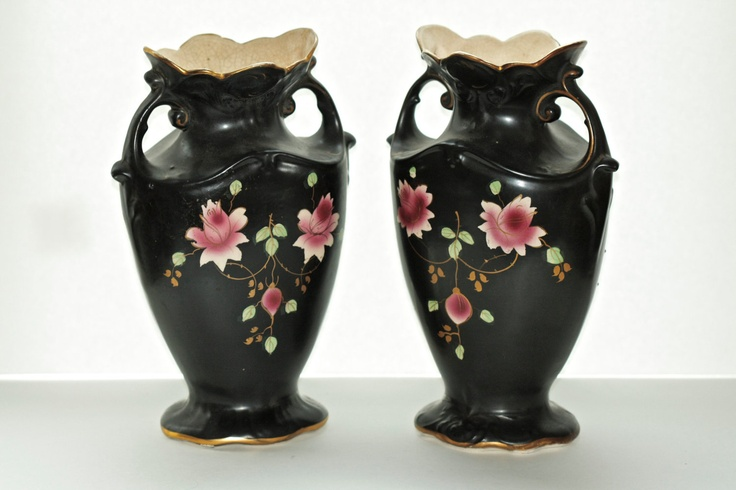 Rare Pair Black Victorian Sayer Longton Vases from Chloe Daphne, $175.00