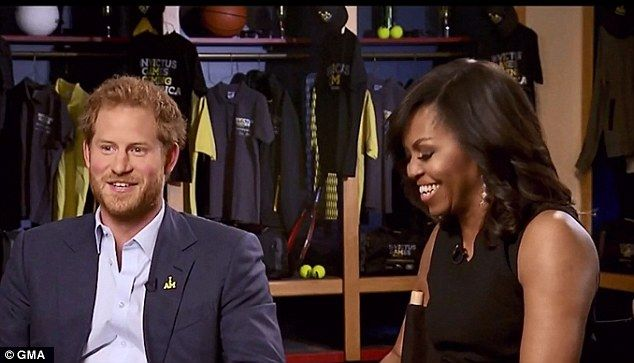Opening up: Prince Harry (above on GMA with the First Lady) appeared on the morning shows Monday to speak about why he decided to create the Invictus Games