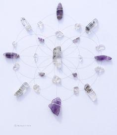 MEDITATION PURIFICATION PEACE --- framed sacred crystal grid --- tourmalinated quartz, amethyst, clear quartz