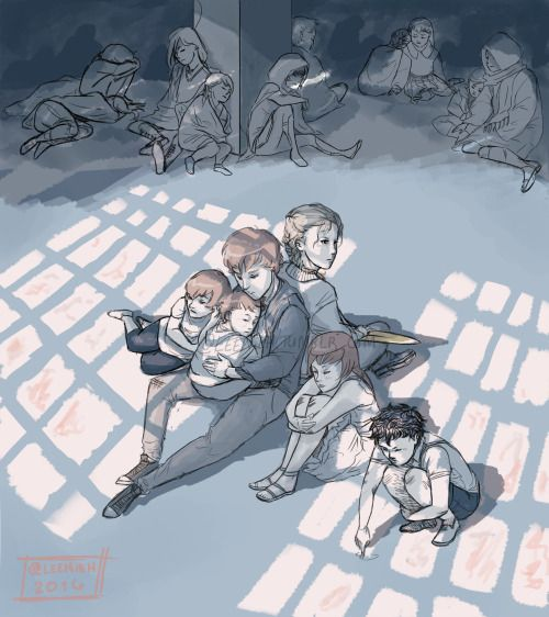 """leenieh: """" ^ Blackthorn family in the hall of accords near the end of City of Heavenly Fire. (The mortal instruments by Cassandra Clare) http://leenieh.deviantart.com/art/BlackthornFam-Cohf-606294591 """""""
