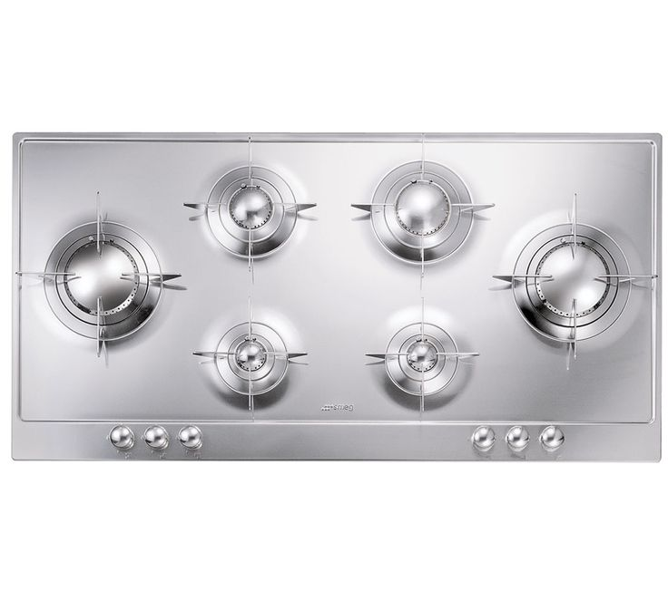 smeg piano design gas cooktop with 6 sealed burners 2 rapid burners