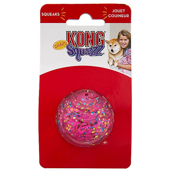 Kong Confetti Squeezz Ball Dog Toy Squeaker Color Varies
