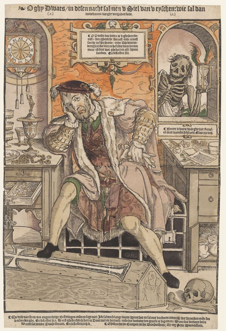 The Rich Man and Death  De rijke man en de Dood, Monogrammist AI (16e eeuw), Peter Warnerssen, 1553