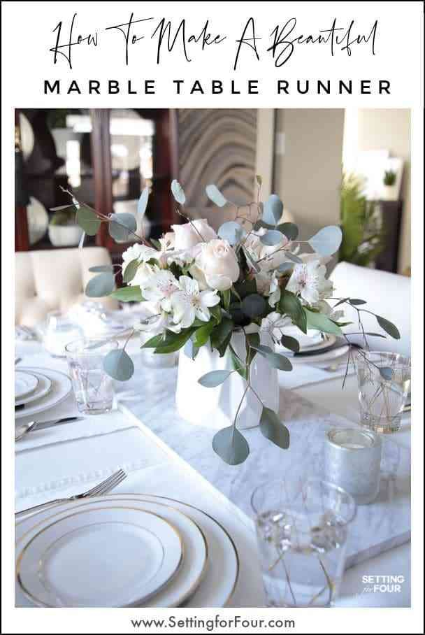 How To Make A Marble Table Runner Dining Room Table Centerpieces Dining Table Decor Everyday Marble Table