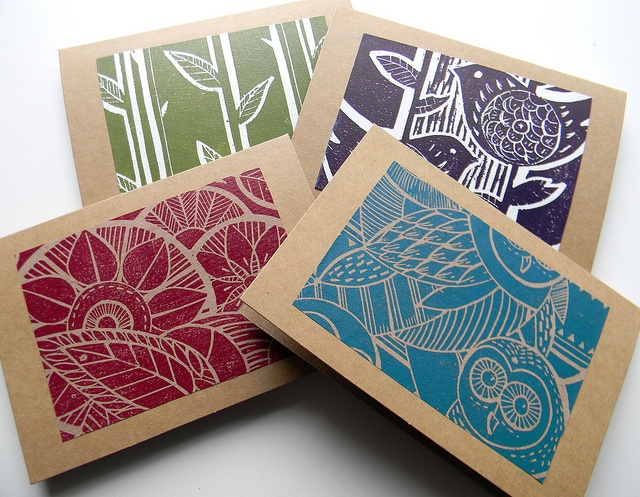 Hand Printed Linoprint Cards by Mangle Prints