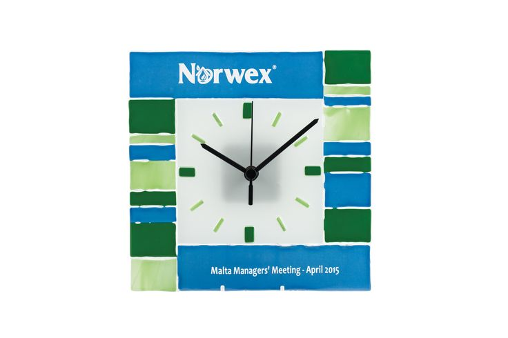 Glass fusion branded clock (corporate gifts) by Mdina Glass.