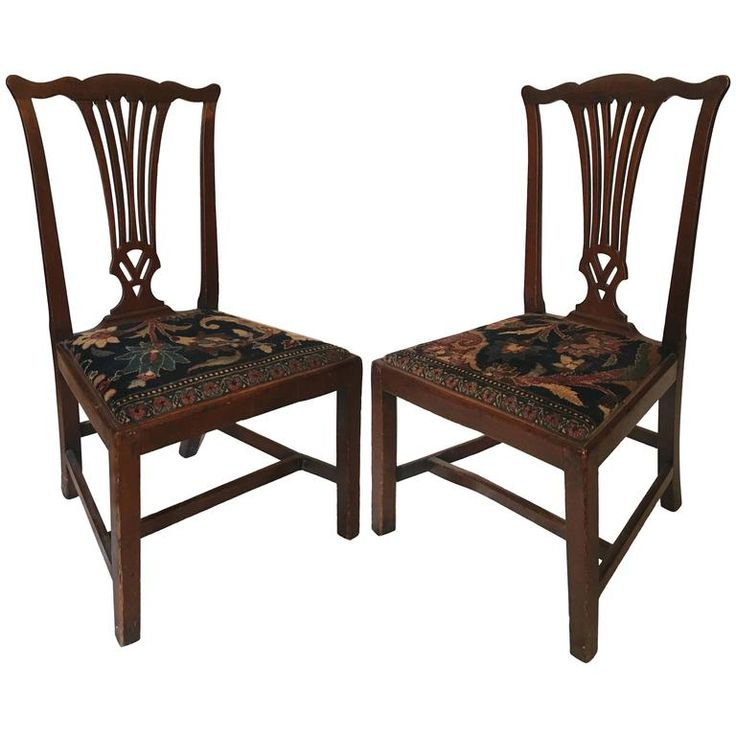 Mid-18th Century American Walnut Chippendale Chairs with Oushak Seats | From a unique collection of antique and modern side chairs at https://www.1stdibs.com/furniture/seating/side-chairs/