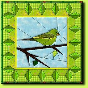 Grünfink by Regina Grewe, Denmark - paper pieced bird pattern