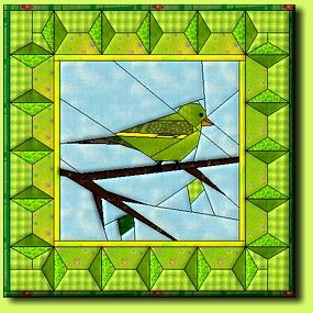 Grünfink by Regina Grewe, Denmark - paper pieced bird pattern