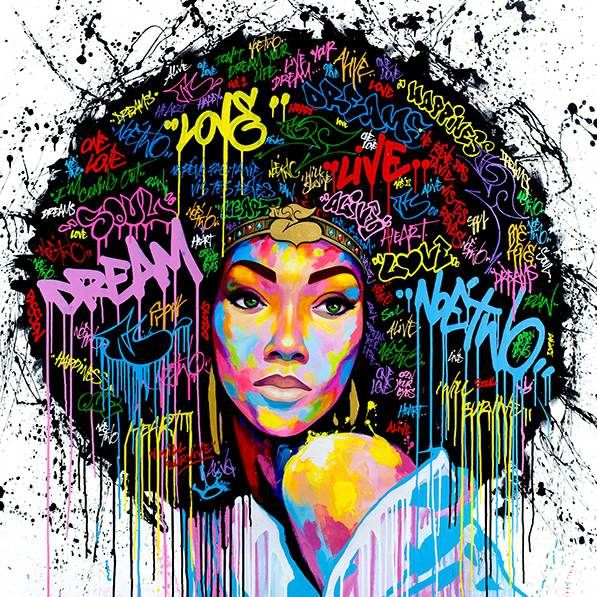 African American Black Art Abstract Portrait Wall Afro Poster Canvas Painting Pop Graffiti Style With Free Shipping Worldwide Weposters Com Black Art Painting African American Wall Art Girls Wall Art