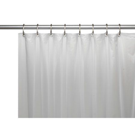 Mildew Resistant 10 Gauge Vinyl Shower Curtain Liner W Metal Grommets And Reinforced Mesh Header In Frosty Clear Size 72 Inch Large X 72 Inch W White Vinyl Shower Curtains Shower Liner Shower