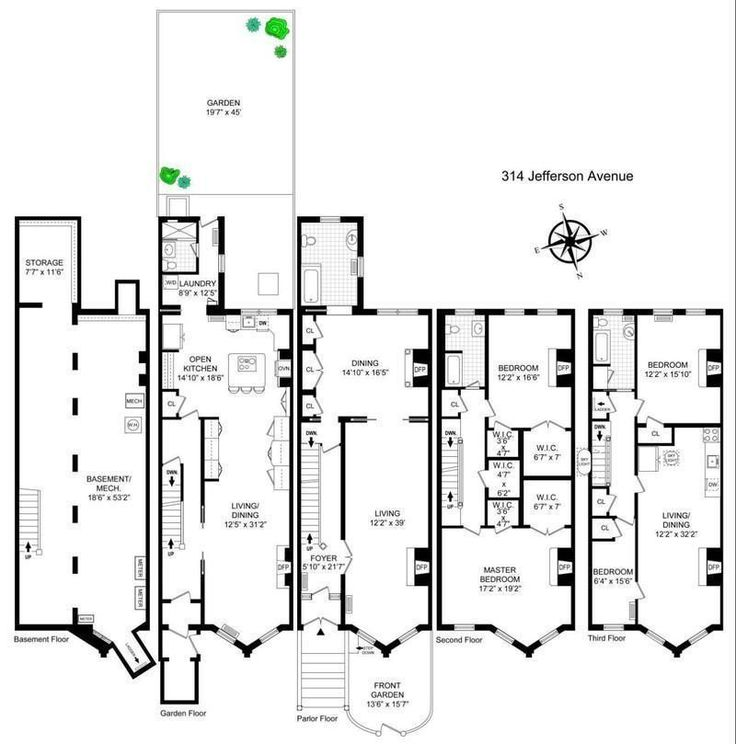 8 best floorplans images on pinterest terraced house townhouse bed stuy townhouse with outdoor shower asks 265m brooklyn brownstonerowingtownhousefloor malvernweather Gallery