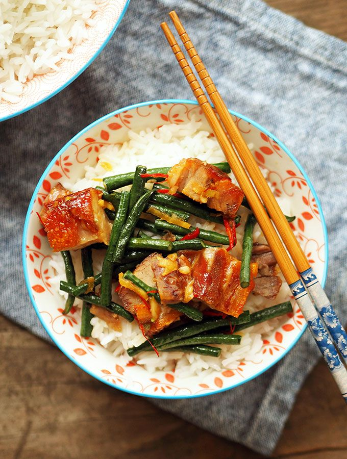 Twice cooked Asian pork belly recipe, with snake beans and orange caramel sauce | www.bellyrumbles.com