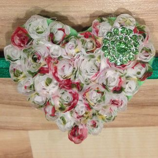 Large Whimsical Heart - Tricolor White and Green Jewel