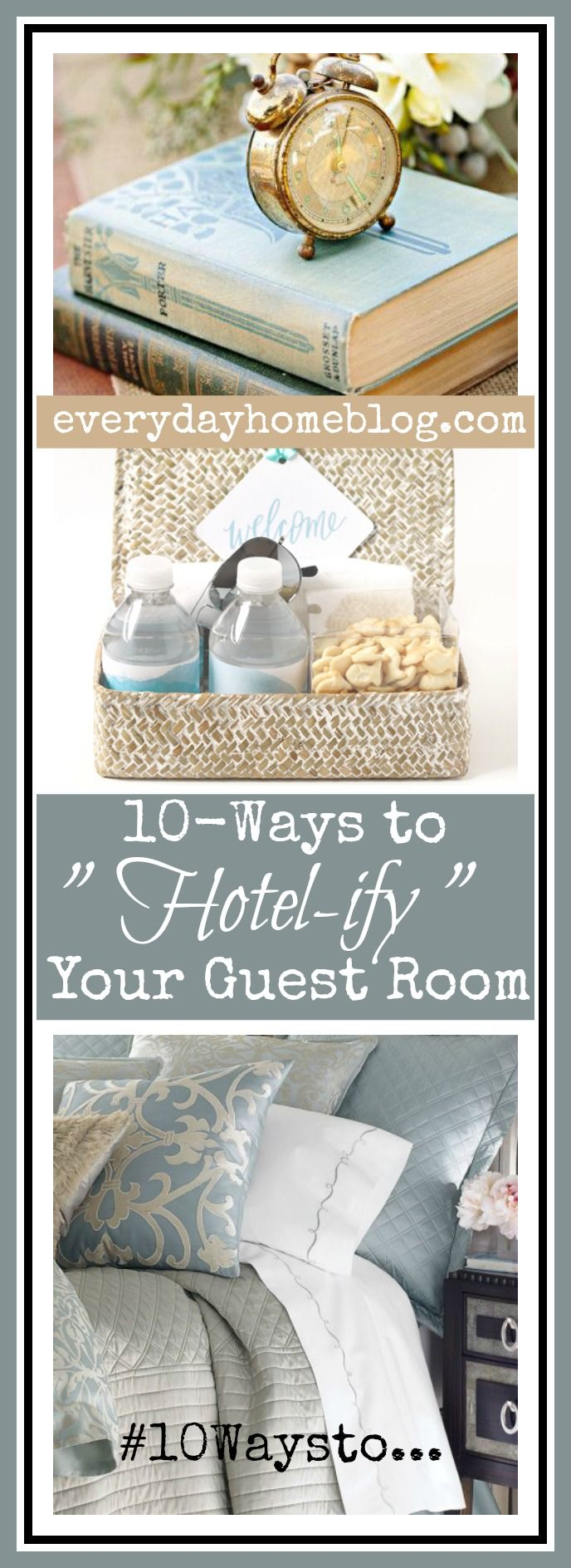 "Several weeks ago, I shared  10-Ways to ""Hotel-ify"" Your Guest Bath. I thought it would be a great time to share the ways  I also prepare my Guest Rooms to make\sure my guests feel right at home. 10-Ways to ""Hotel-ify"" Your Guest Room   1) Linens/Bedding Honestly there is no shortcut when it comes to bedding. …"