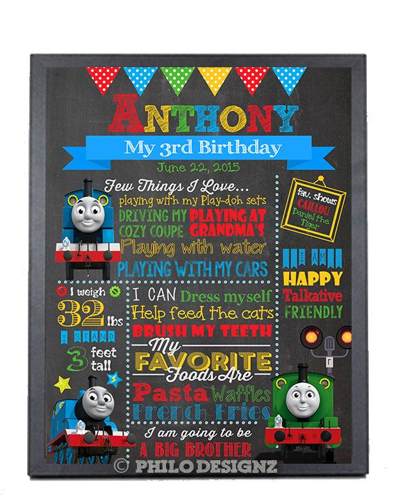 Make your childs day special with this Chalkboard Sign .Poster is available is 4 different sizes. Text and color can be changed according to the requirement. Note: Only Digital File will be provided. ▬▬▬▬▬▬▬▬▬▬▬▬▬▬▬▬▬▬▬▬▬▬▬▬▬▬▬▬▬▬▬ ----------------- ►►►Chalkboard Information◄◄◄ ----------------- ▬▬▬▬▬▬▬▬▬▬▬▬▬▬▬▬▬▬▬▬▬▬▬▬▬▬▬▬▬▬▬ In notes to seller, please **Copy and Paste** the following list and provide the information for the poster. Child Name: Template Style: Thomas the train Style Or…